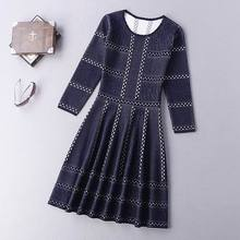 Best Quality New 2016 Autumn Winter Dress Women O-Neck Color Block Knitted 3/4 Sleeve Dark Blue Red White Pullover Sweater Dress