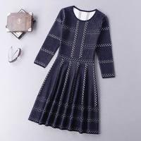 Beste Qualität Neue 2016 Herbst Winter Kleid Frauen Oansatz Farbe Block Gestrickte 3/4 Hülse Dunkelblau Rot Weiß Pullover Pullover kleid