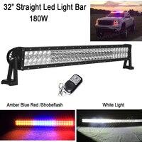 32 дюймов 180 Вт прямой светодиодный свет работы бар белый 6000 К/янтарный синий и красный цвета StrobeFlash сигнала предупреждающие наклейки Combo Луч