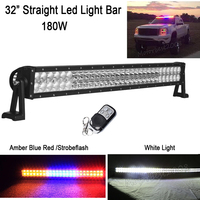 32inch 180W Straight Led Work Light Bar White 6000k / Amber Blue Red StrobeFlash Signal Decoration Warning Combo Beam offroad