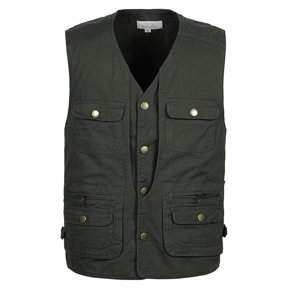 Summer New Brand Vest Casual Men Multi-Pockets Regular Photography Cotton Two Colors Plus Large Size 5XL - She Xiang Apparel Store store
