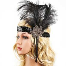 Great Gatsby Headpiece Vintage 1920 s Feather Headband Tassels (China)