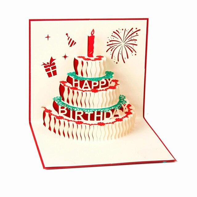 Cartões De feliz Aniversário Bolo de Aniversário 3d cartão Feito À
