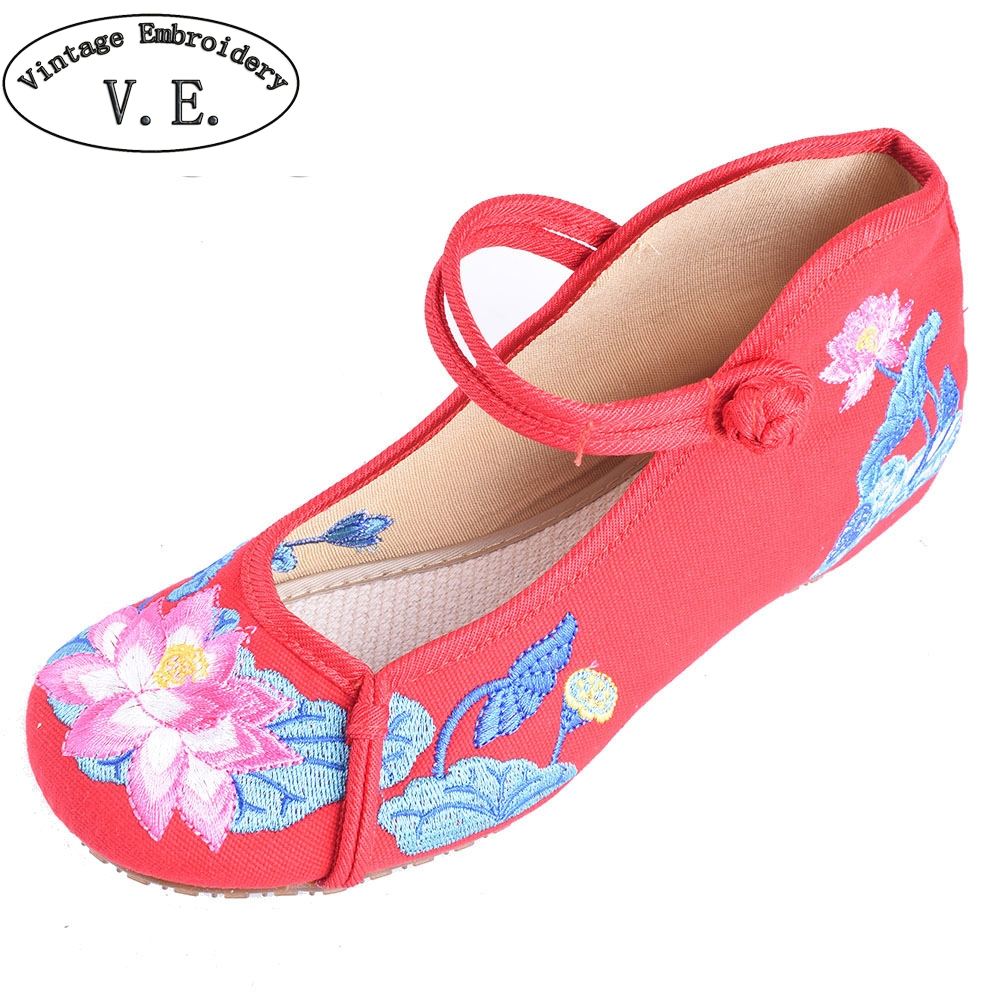 Women Flats Shoes Chinese Lotus Embroidery Canvas Shoes Casual Mary Jane Shoes Woman Ballet Dance Single Shoes chinese women flats shoes flowers casual embroidery soft sole cloth dance ballet flat shoes woman breathable zapatos mujer