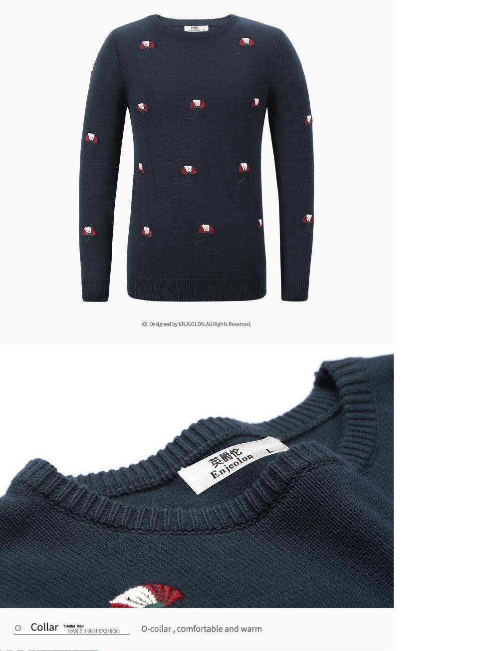 HTB1vmwBbRUSMeJjSszcq6znwVXaL - Enjeolon brand top fall winter warm knitted pullovers Sweater man 100 Cotton pattern pullober o-neck pullover Sweater men MY3227
