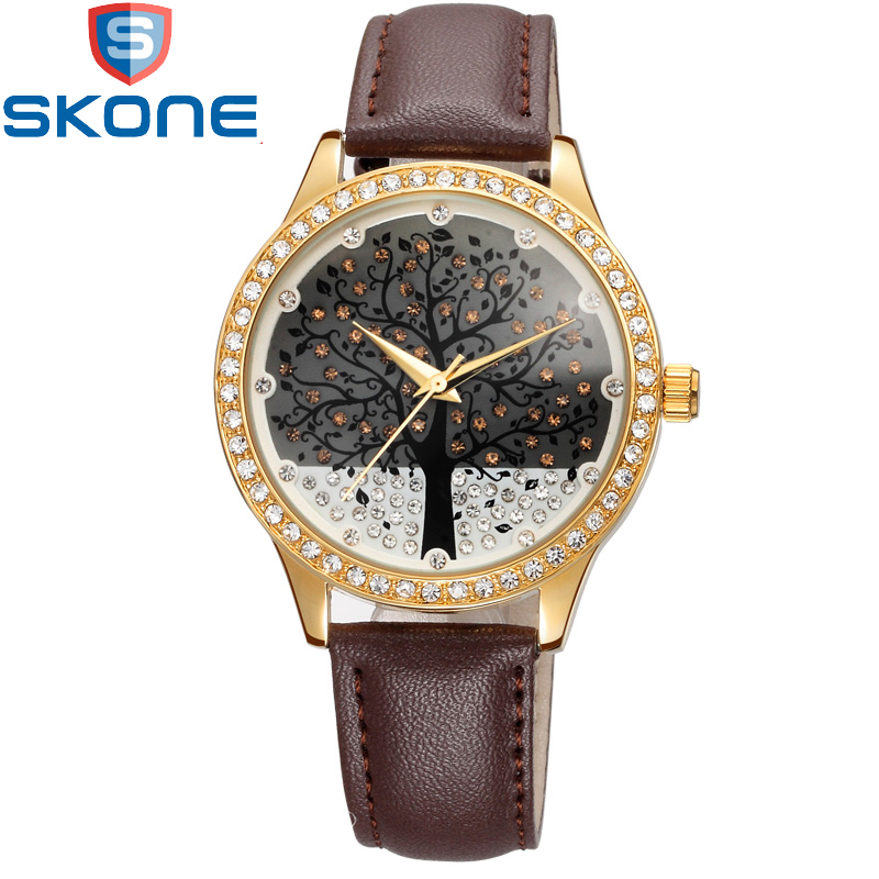 SKONE Life Tree Watches Clock for Female Ladies Leather Dress Watch Amaizng Brand Quartz Women
