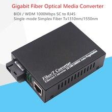 WDM ألياف جيجابت محول وسائط 1000Mbps أحادي الوضع واحد الألياف البصرية جهاز الإرسال والاستقبال محول Tx1310nm/1550nm SC إلى RJ45