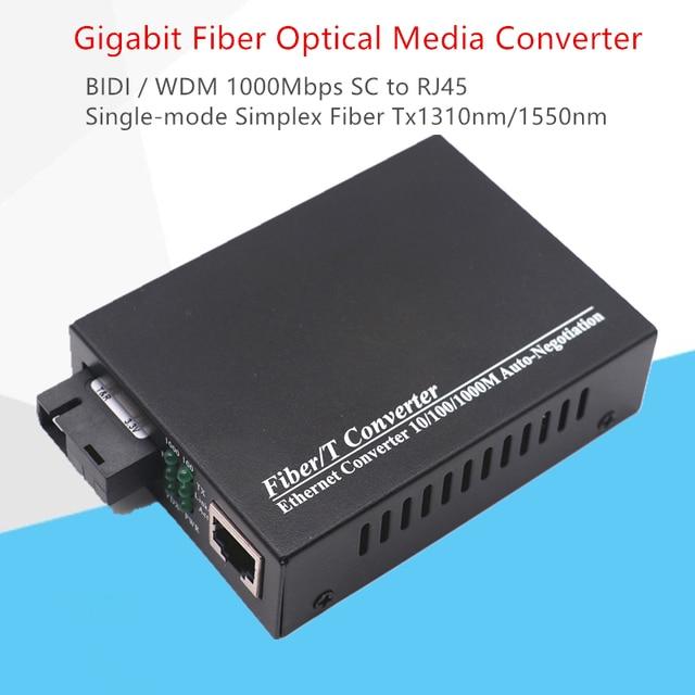 WDM Gigabit Fiber ortam dönüştürücü 1000 Mbps Tek modlu Tek Fiber Optik Alıcı verici Tx1310nm/1550nm SC RJ45