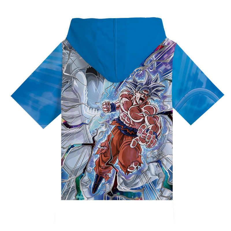 Cosroad Dragon Ball Z Super Saiyan Goku Vegeta Cosplay Hoodies Mannen Vrouwen Korte Mouwen Hooded T-shirt Kostuum Zomer Tee Shirts