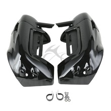 цена на Lower Vented Leg Fairings Cap Glove Box Fit For Harley Touring Models Road King Street Electra Glide FLHR 1983-2013 Black Chrome