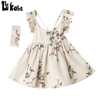 2017 Baby Flower Girls Dress Summer Style Dresses Floral Print Princess Party Backless Dresses Headband For Girls birthday