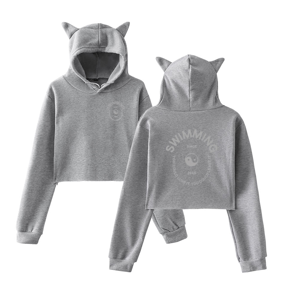 Fashion Sweatshirt Sweater Black Personality Girl Cat Ears Umbilical Hoodie