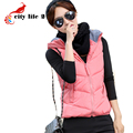 Korean Fashion Short Waistcoat New Autumn And Winter 2015 Women Vest Candy Color Cotton Hooded Vest Zipper Female Chalecos