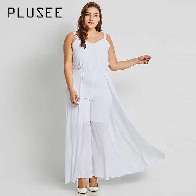 282e96a49ed Plusee Jumpsuit Plus Size 4XL 5XL Women Autumn White Broadcloth Plain Loose  Sleeves Office Jumpsuit Plus Size Women Jumpsuit