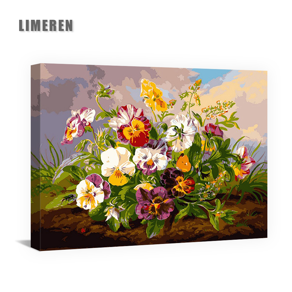 Flowers DIY Painting By Numbers Pansy Acrylic Painting ...