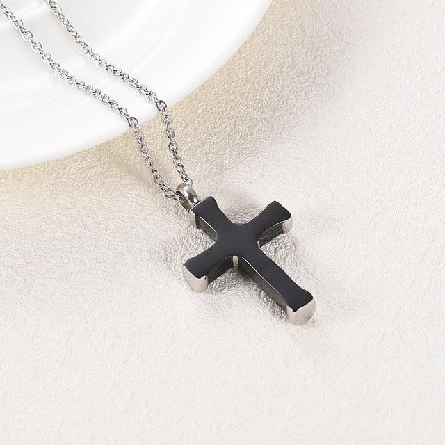 LKJ003 Top Quality Black Cross Cremation Necklace Hold Loved Ones' Ashes Funeral Urn Casket - Custom Name/ Date Engravable 2