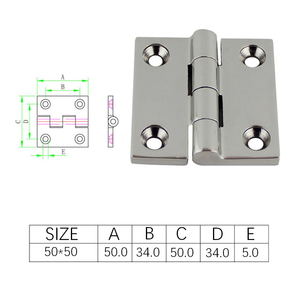 Image 3 - 50*50mm Stainless Steel 316 High Mirror Marine Square Hinge Boat Door Hinge Top Mirror Polished Boat/Yacht Square Hinge 5PCS-in Marine Hardware from Automobiles & Motorcycles