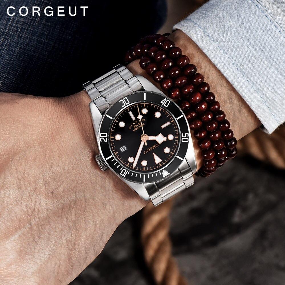 Corgeut Luxus Marke Schwarz Bay Männer Automatische Mechanische Uhr Military Sport Schwimmen Uhr Leder Mechanische Handgelenk Uhren