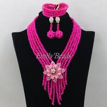 Kryształowe koraliki naszyjnik bransoletka zestaw kolczyków ręcznie afrykańska biżuteria ślubna zestaw zestaw biżuterii ślubnej darmowa wysyłka AIJ180 tanie tanio Zestawy biżuterii Moda PLANT Necklace Bracelet Earrings miss mousaie Zestawy biżuterii dla nowożeńców TRENDY Ślub