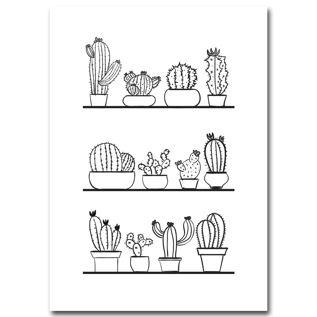US $2 47 OFF Nordic Art Cactus Plants Minimalist Art Canvas Poster Painting Black White Picture Print Modern Kids Room Decoration Wall