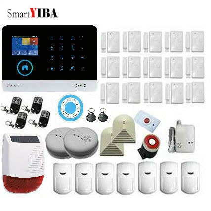 SmartYIBA WiFi 2G GSM Home Security Alarm System Wireless Outdoor Solar Strobe Siren Glass Break Sensor Fire/Smoke Alarm Kits wireless alarm accessories glass vibration door pir siren smoke gas water sensor for home security wifi gsm sms alarm system