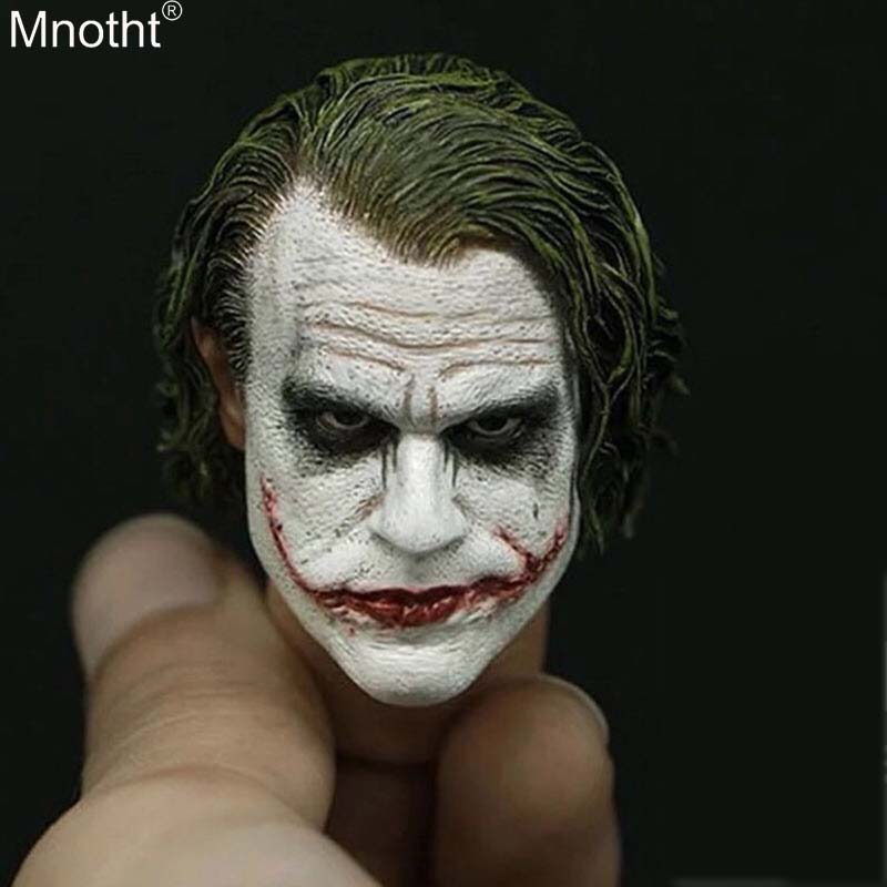 Mnotht Batman Head Carvings Model Toy 1:6 Male Soldier Prequel Clown Heath Ledger Joker Head Sculpt for 12in Action Figure ma 1 6 scale figure doll head shape for 12 action figure doll accessories batman joker heath ledger head carved