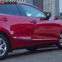 For Mazda 2 DEMIO DJ Hatchback 2014 2018 Chrome Side Door Line Moulding Garnish Body Streamer Strip Cover Trim Car Accessories