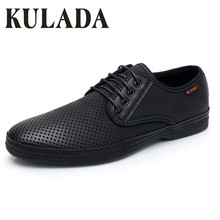 Купить с кэшбэком KULADA Newest Men Sandals Summer Walking Shoes Hollow-Out Leather Driving Casual Comfortable Shoes Breathable Men Shoes