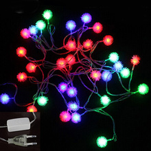 Tanbaby Holiday lights 20 LED Furry Snow Ball Edelweiss String Lights for Home Garden Party wedding garland Decorations AC220V