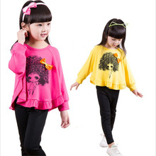2 pcs Baby Girls Fashion Suit Children Clothes T-Shirt Tops Tee Bottoming Pants Kids Explosion Head Bow Batwing Shirt Leggings