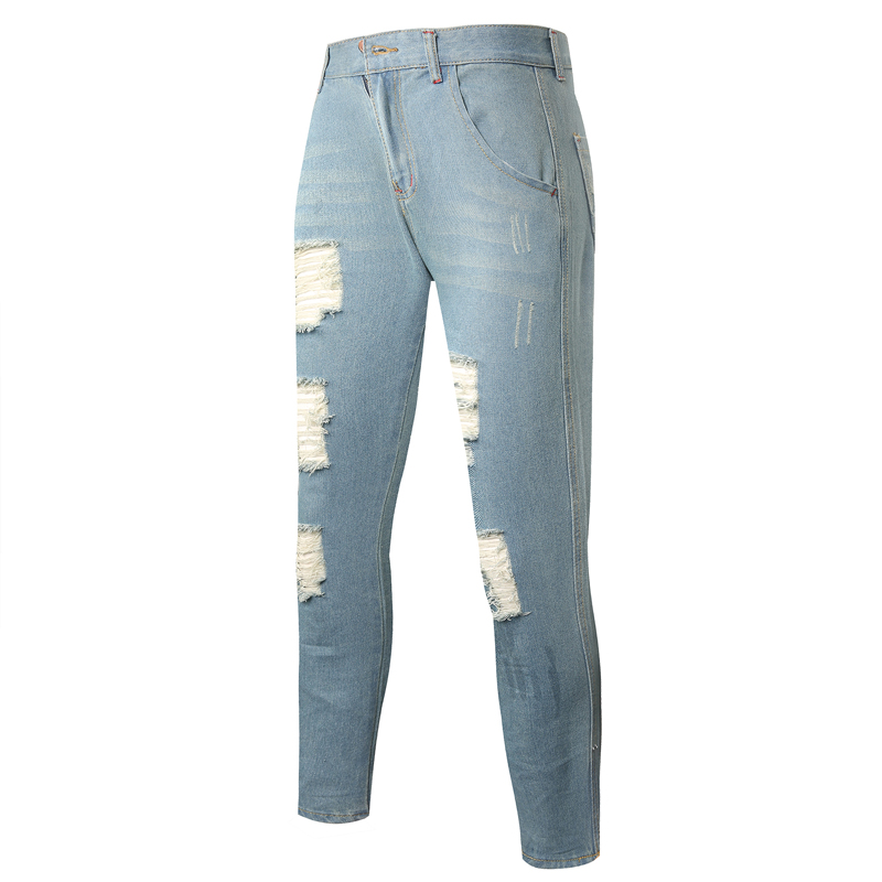 2017 summer mens skinny jeans slim hole jeans homme solid ankle-length  ripped jeans cotton scratched denim pants light blue - Online Get Cheap Men Light Blue Skinny Jeans -Aliexpress.com