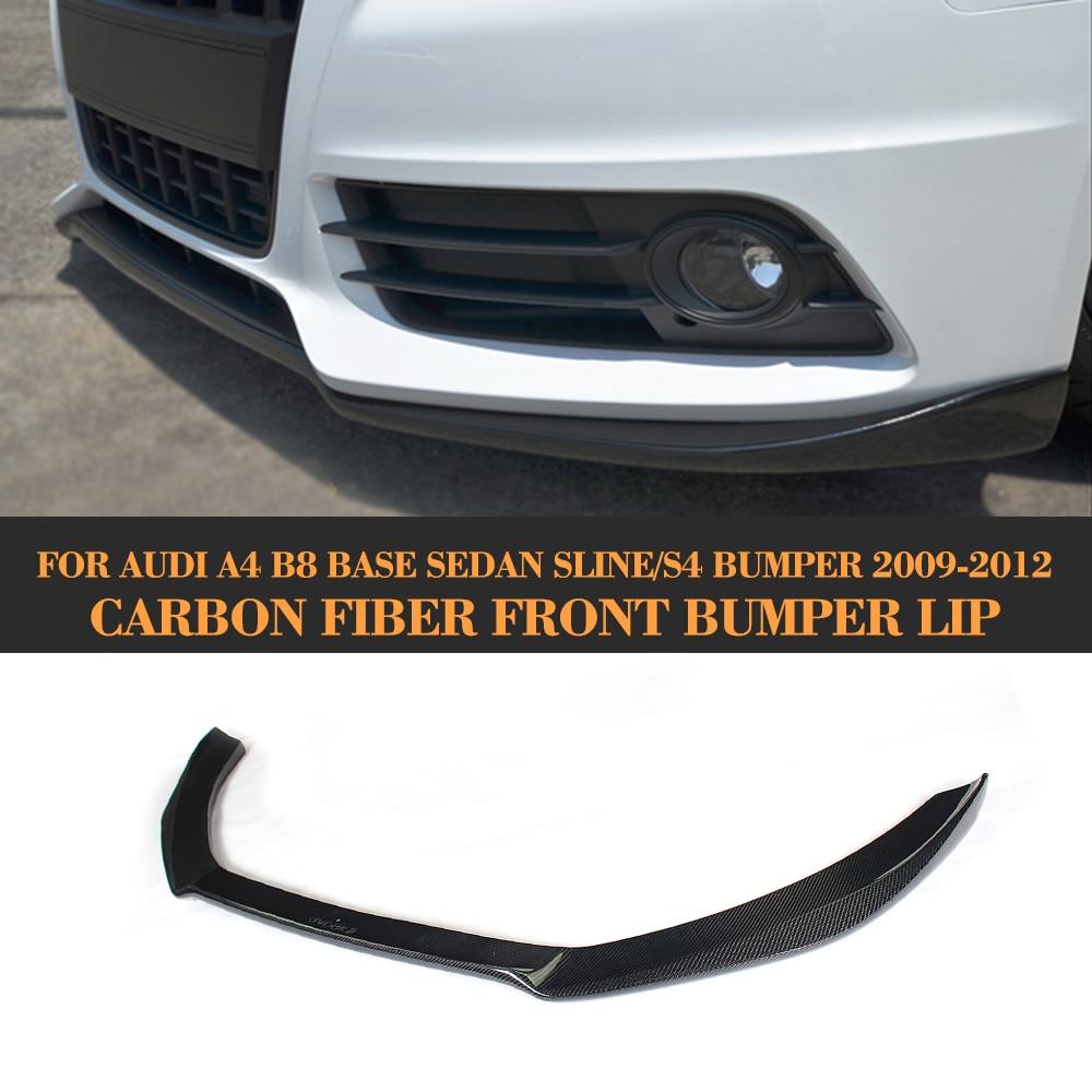 Carbon Fiber Front Bumper Diffuser lip Spoiler for Audi A4 B8 Sline S4 Sedan 2009-2012 Non B8 Standard Black FRP неокрашенный задний багажник спойлер крыла для audi a4 b8 sedan 09 12 ca стиль