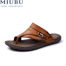 MIUBU Big Size 45 Summer Men Beach Sandals Split Leather Sandal Shoes Leisure Durable Non-Slip Shoes Zapatillas Hombre Slippe цена