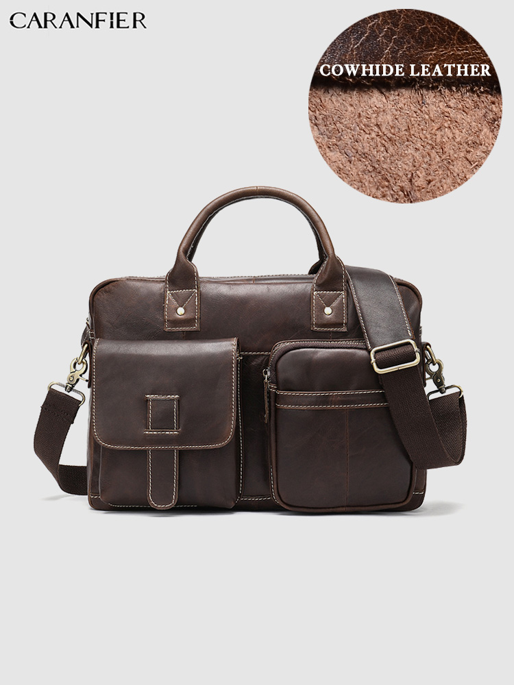 CARANFIER Mens Briefcases Large Capacity Business Travel Bags Genuine Cowhide Leather Vintage Quality Male Shoulder Bag Handbags