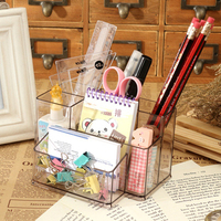 2017 New Style Transparent Office Pen Container Fashion Storage Box Stationery Office Organizer School Supplies Escritorio