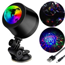 USB Mini Disco light Car Motorbike Headlight,Waterproof,USB Rechargeable,360 Degree Base RGB Sound Actived Rotating Ball Lights