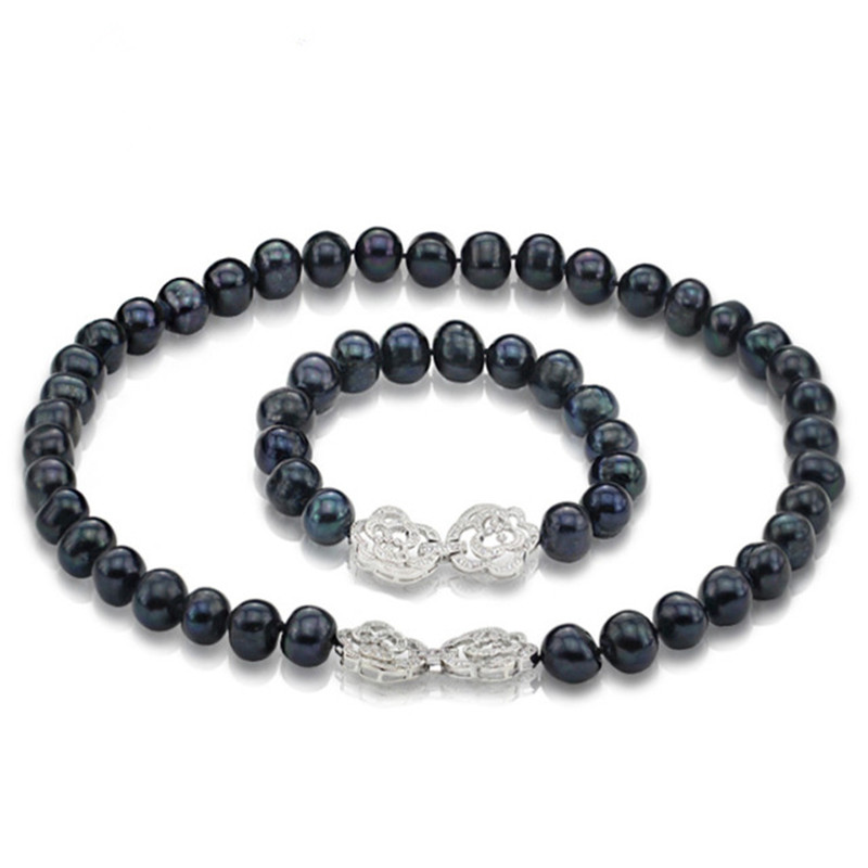 SNH 10-11mm pomme de terre AA grade collier de perles et bracelet ensemble de bijoux fermoir en argent livraison gratuite ensembles de perles d'eau douce naturelles