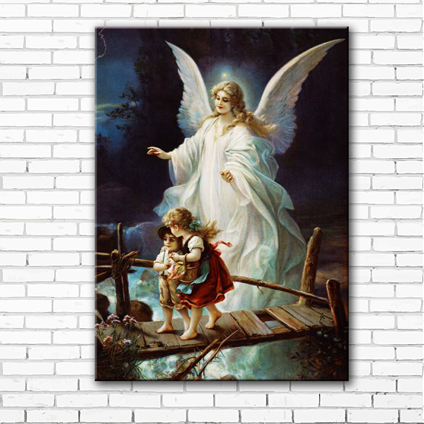 free shipping White angel printed on canvas guardian angel oil painting canvas prints home wall art decoration picture