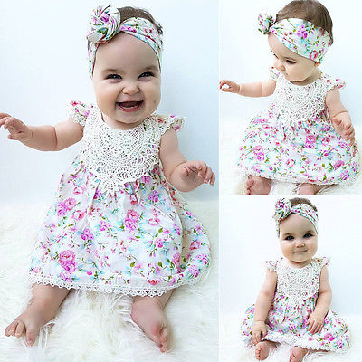 afd377be4157 Newborn Baby Girls Kids Summer Floral Sundress Clothes Outfit Dress Headband  Two pcs
