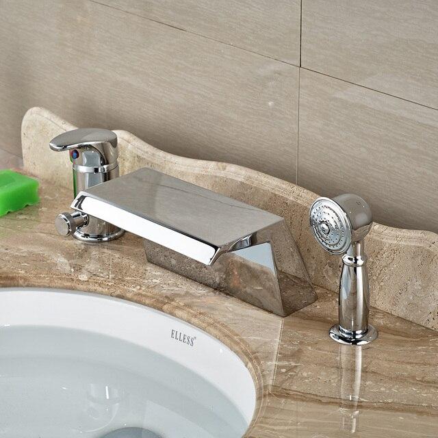 Chrome Wide Waterfall Spout Bathtub Mixer Taps Deck Mount 3 Holes