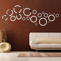 DIY acrylic mirrored circle shapes solid wall stickers for hotel coffee background sitting room sofa decoration