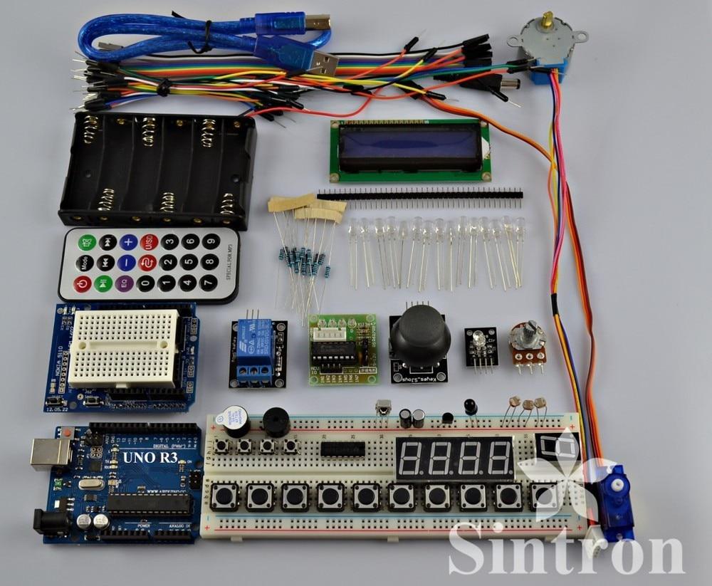 [Sintron] Master Kit + UNO R3 Board + PDF Files For Arduino AVR learner adeept diy electric new project lcd1602 starter kit for arduino uno r3 mega 2560 pdf free shipping book headphones diy diykit
