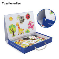 ToysParadise Magnetic Puzzles Hand held Box Wooden Toys For Kids Drawing Board Have Pen Animals Puzzle Educational Gift