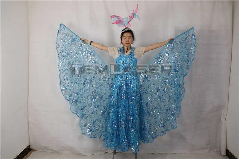 LEVOU Fluorescentes luminosos asas Traje Do Bailado dança da borboleta Manto manto prop asas de Dança Do Ventre Traje De Dança Do vestido