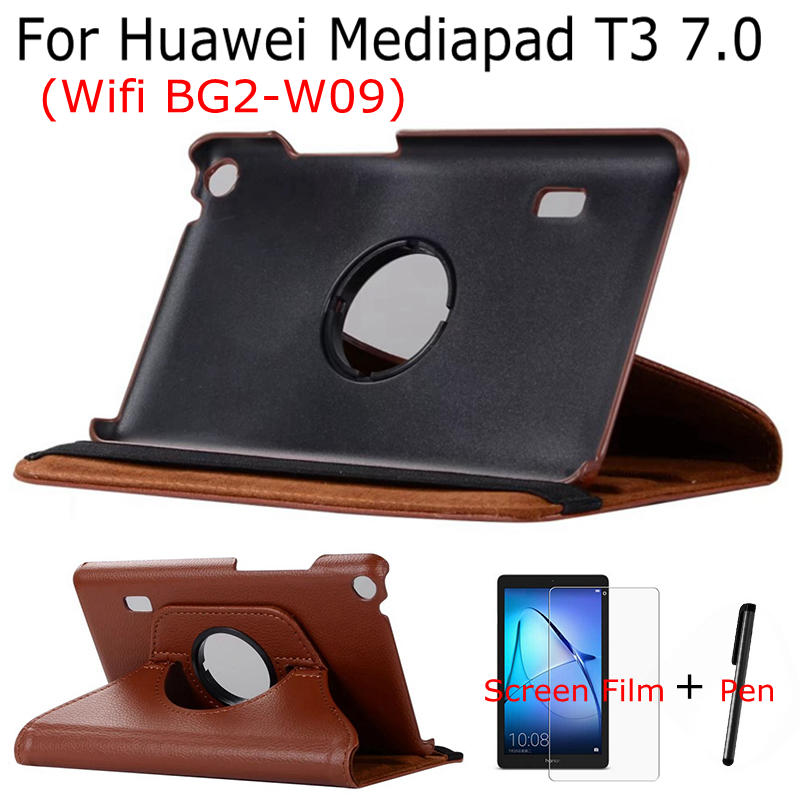 360 Degree Rotating Stand PU Leather Case For Huawei Mediapad T3 7 Wifi BG2-W09 7.0