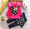 2016 Spring Autumn baby Girls clothes sets children's cartoon Minnie T-shirt + pants kids clothing leisure suit free shipping