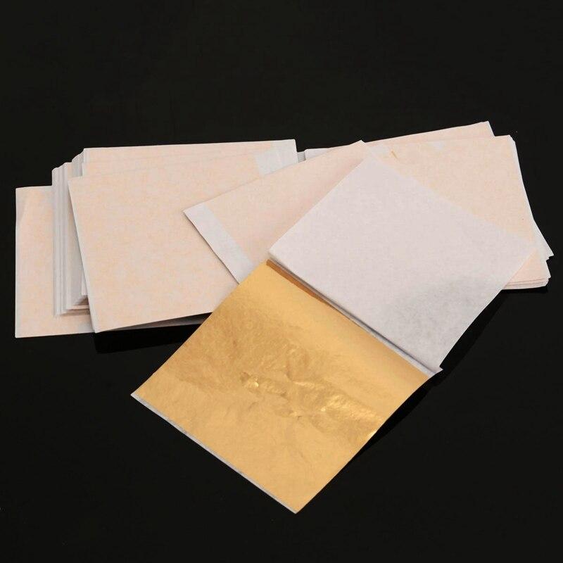 Diy 100 sheets set gold foil leaf aluminum leaf gilding for Furniture decoration paper