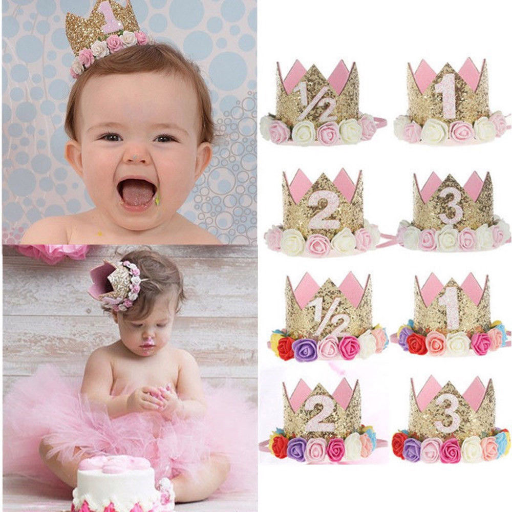 Lovely Baby Birthday Party Cap Hairband Princess Queen Crown Hat
