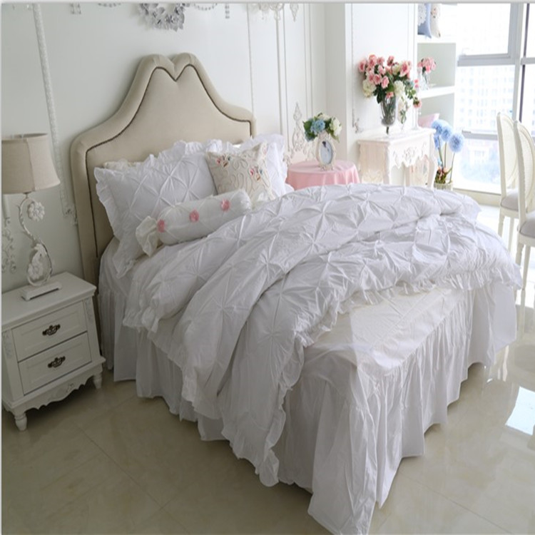 Buy Free Shipping Korean White Pink Blue Light Yellow Falbala Ruffle Bedding