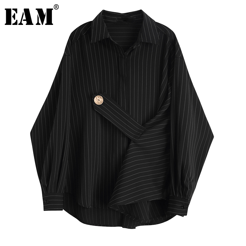 [EAM] Women Black Striped Big Size Blouse New Lapel Long Sleeve Bandage Loose Fit Shirt Fashion Tide Spring Autumn 2020 JY853